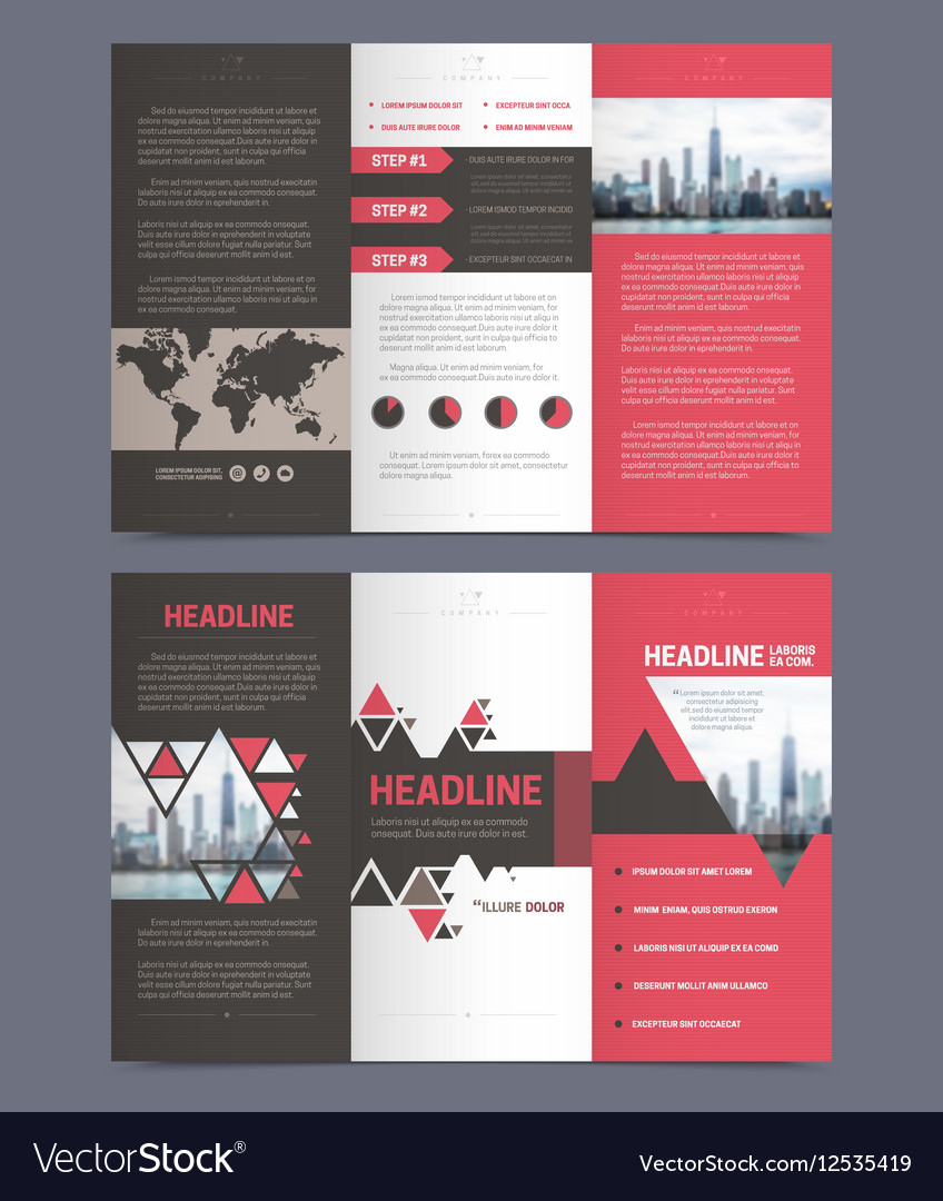 three fold flyer template royalty free vector image