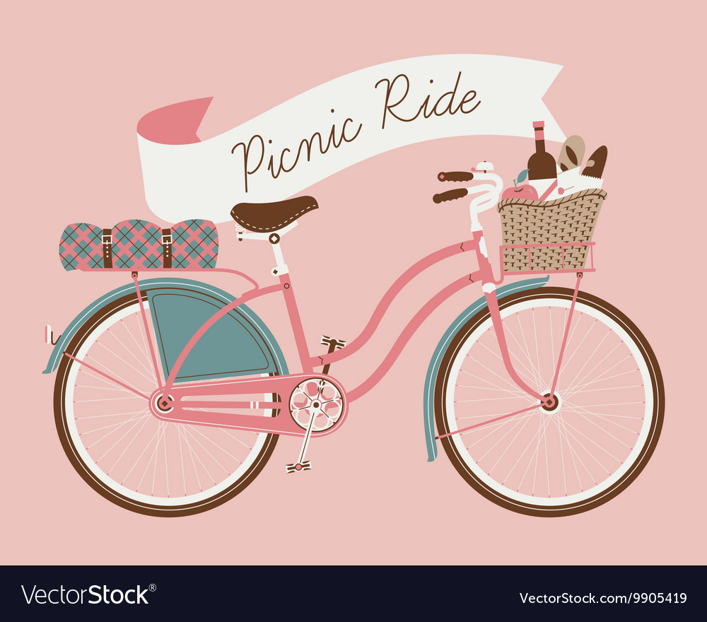 Vintage Poster of a Bike and a Picnic Basket