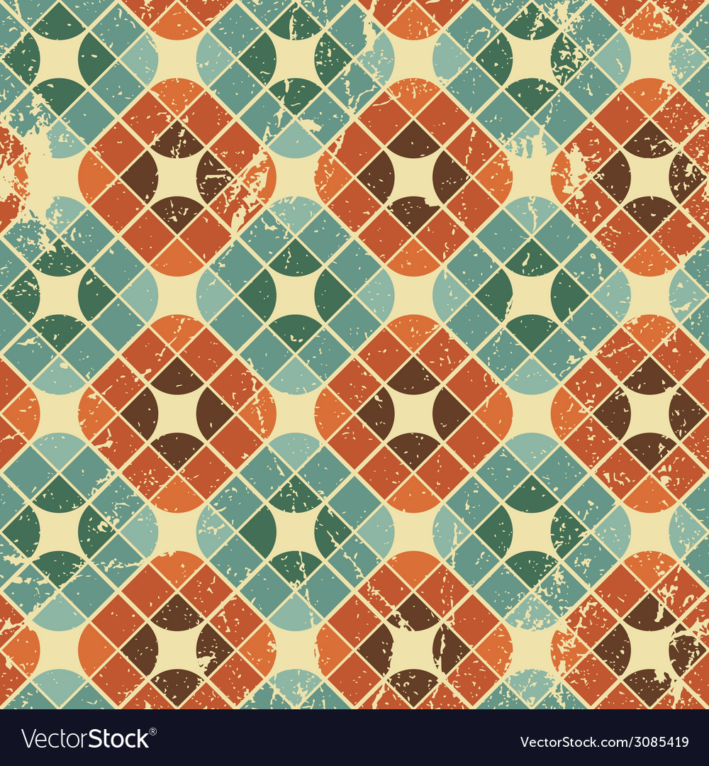 Vintage tiles with grunge texture seamless Vector Image