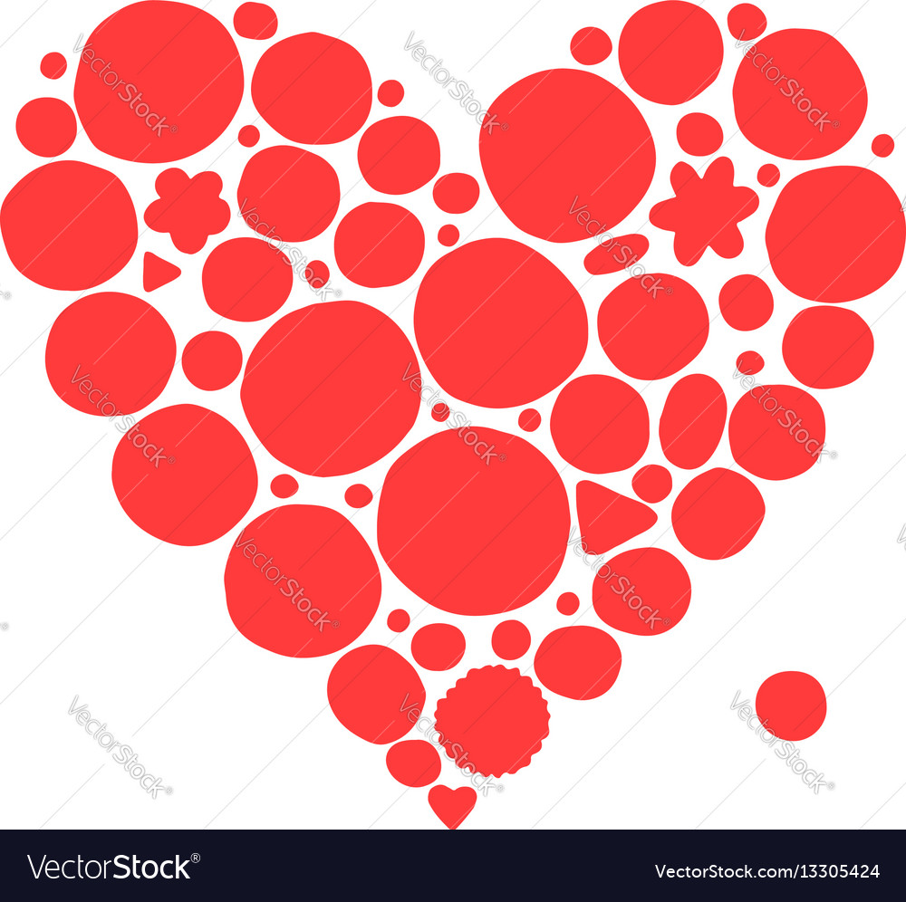 Abstract red heart shape sketch for your design