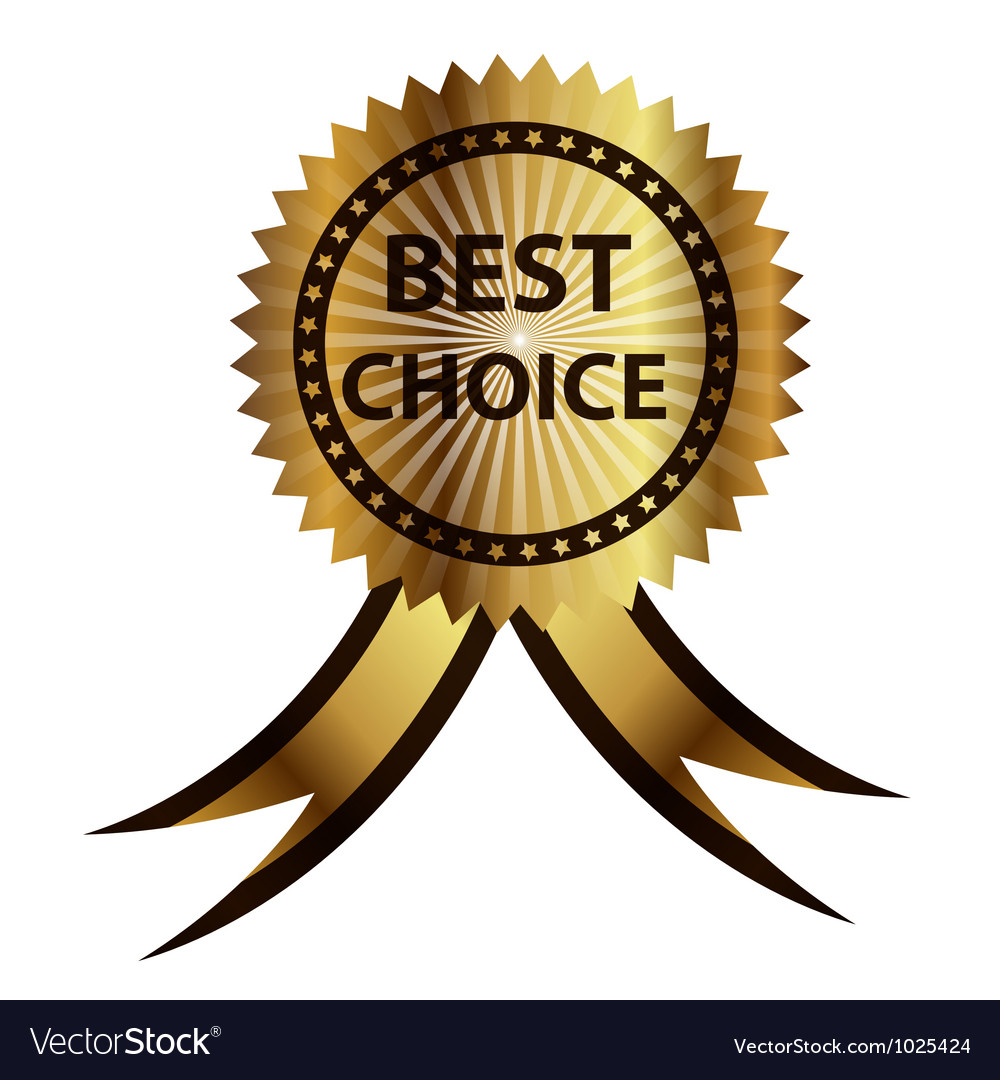 Best choice label with red ribbon