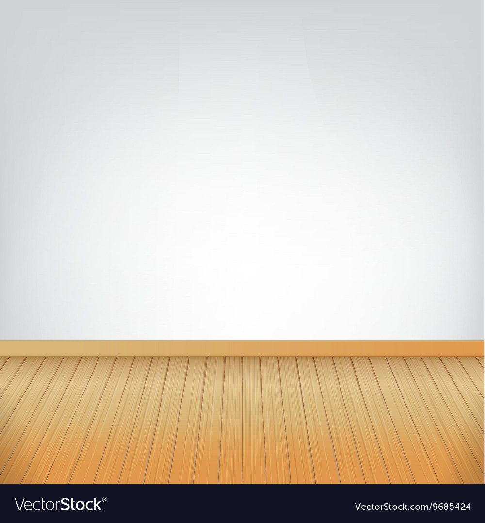 Brown Wood Floor Texture And White Wall Background Vector Image