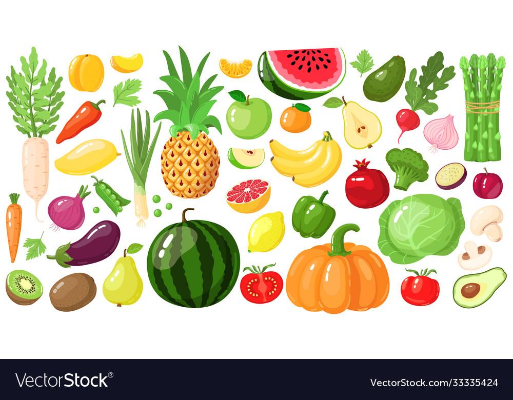 Cartoon fruits and vegetables vegan lifestyle