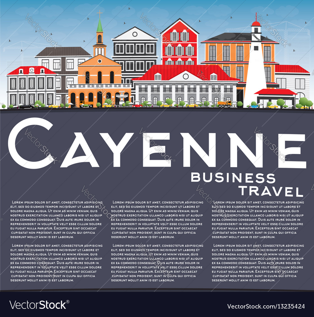 Cayenne skyline with color buildings