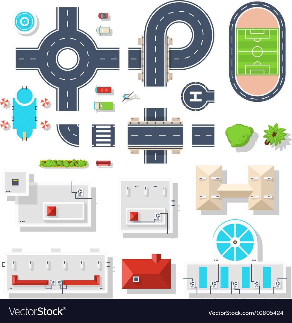 City Element Top View Set vector image