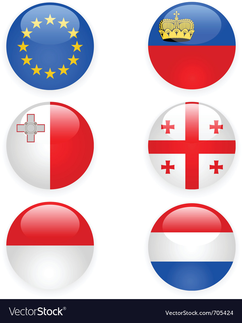 Europe flags buttons part three