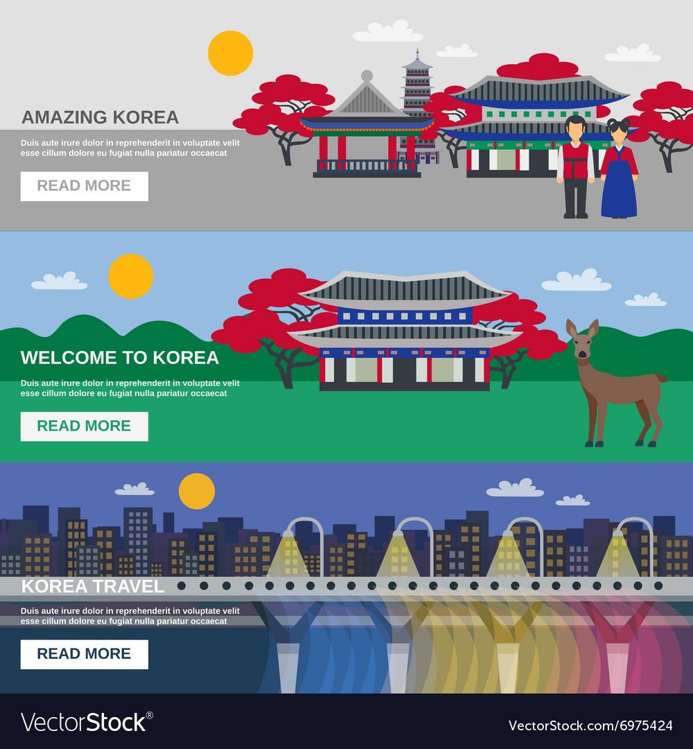 Korean Culture 3 Flat banners Set