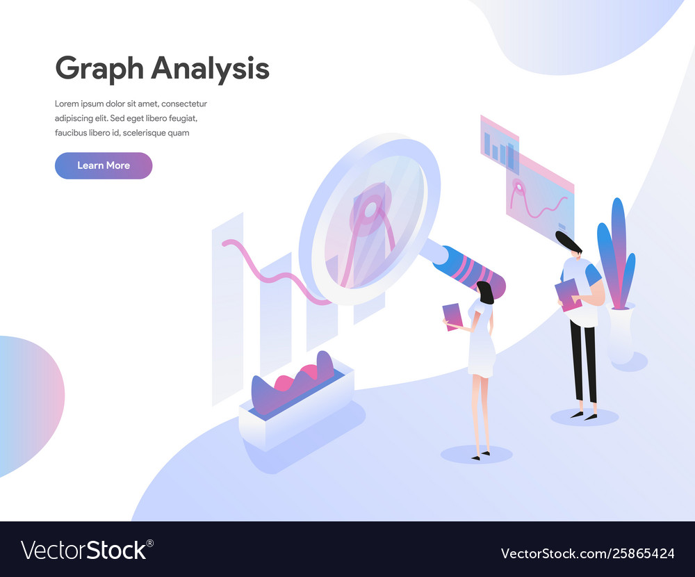 Landing page template graph analysis isometric