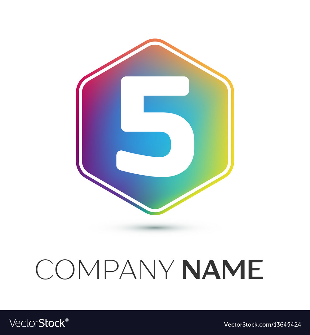 Number five logo symbol in the colorful hexagonal