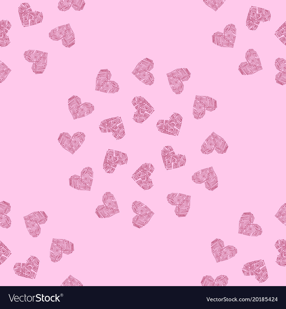 Seamless Pattern Background With Pink Heart Vector Image