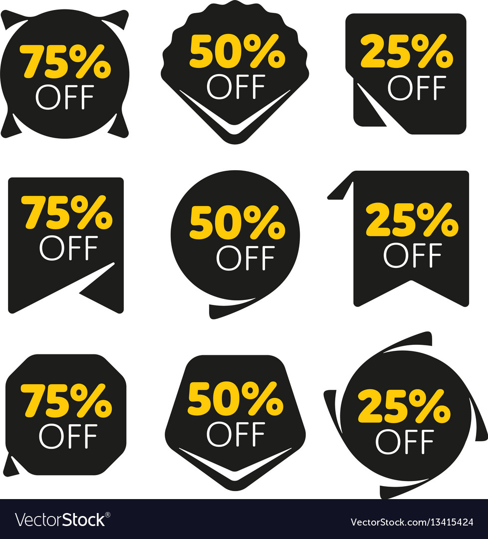 Special offer sale tag discount proposition set