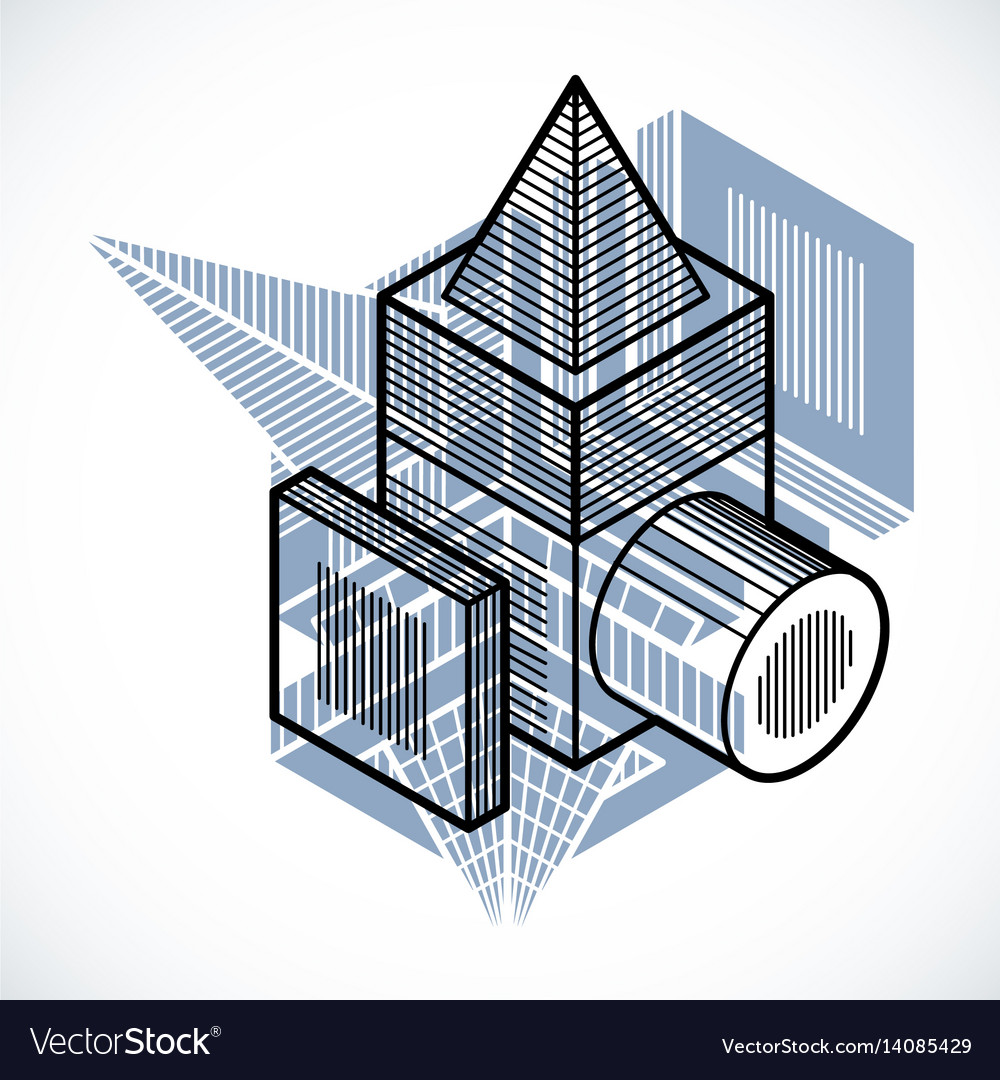3d abstract isometric construction polygonal vector image