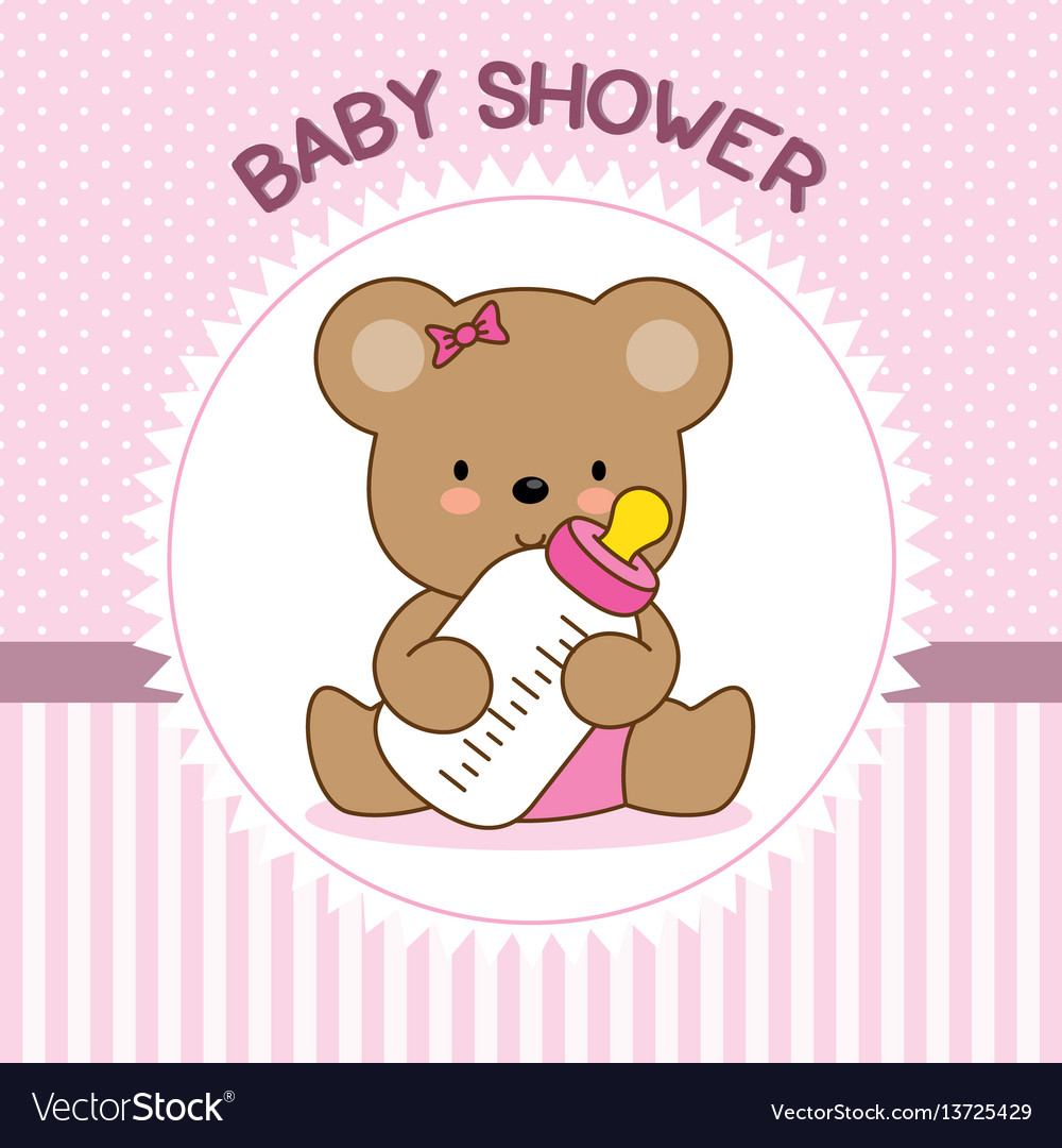 Bear with baby bottle vector image
