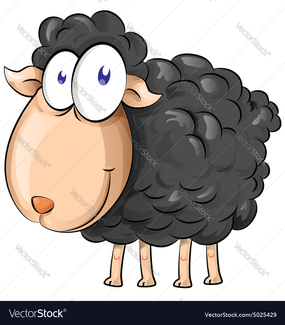 Black Sheep Cartoon Isolate On White Background Vector Image-7162