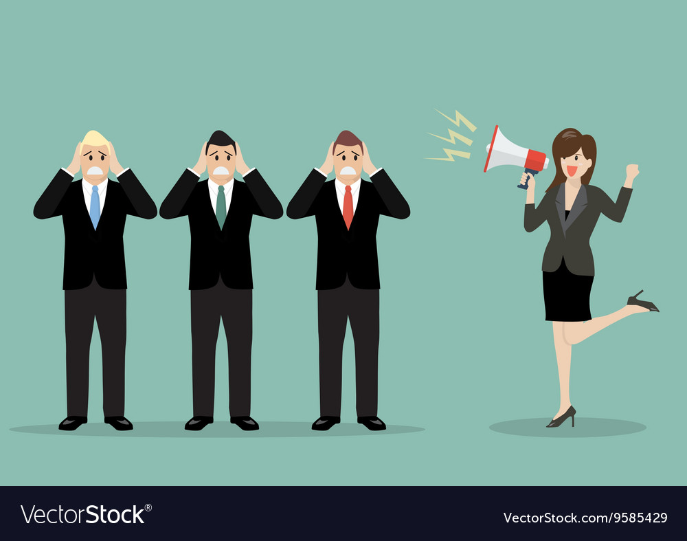 Business woman screaming to the businessmen vector image
