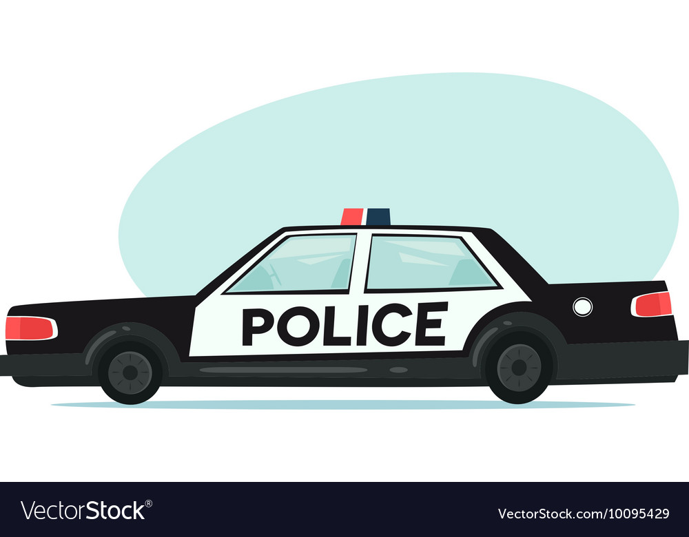Cartoon police car icon Isolated objects on white