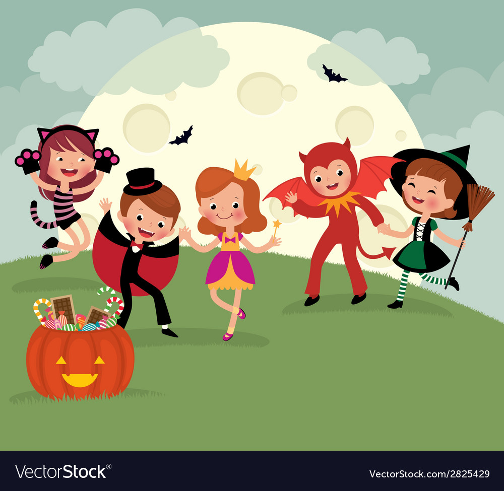 Children on Halloween night party vector image