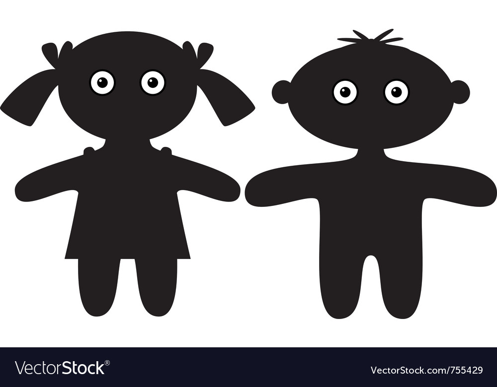Dolls boy and girl silhouette vector image