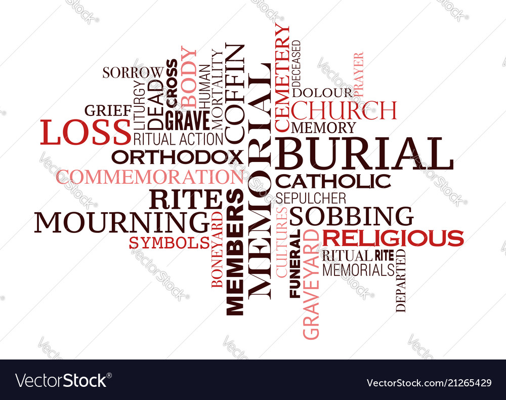 Funeral Or Burial Ceremony Word Cloud Design Vector Image