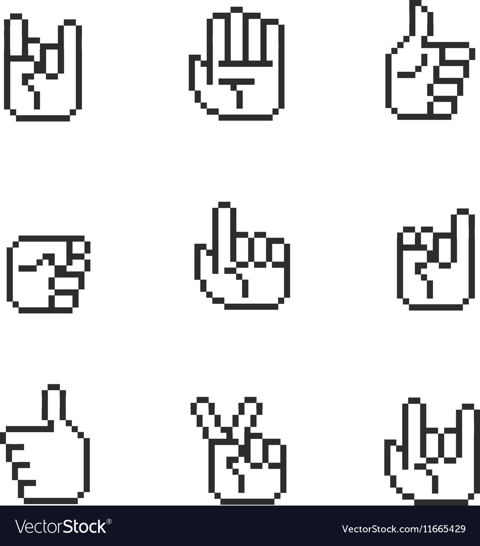 Pixel art 8 bit hands icons and gestures signs set
