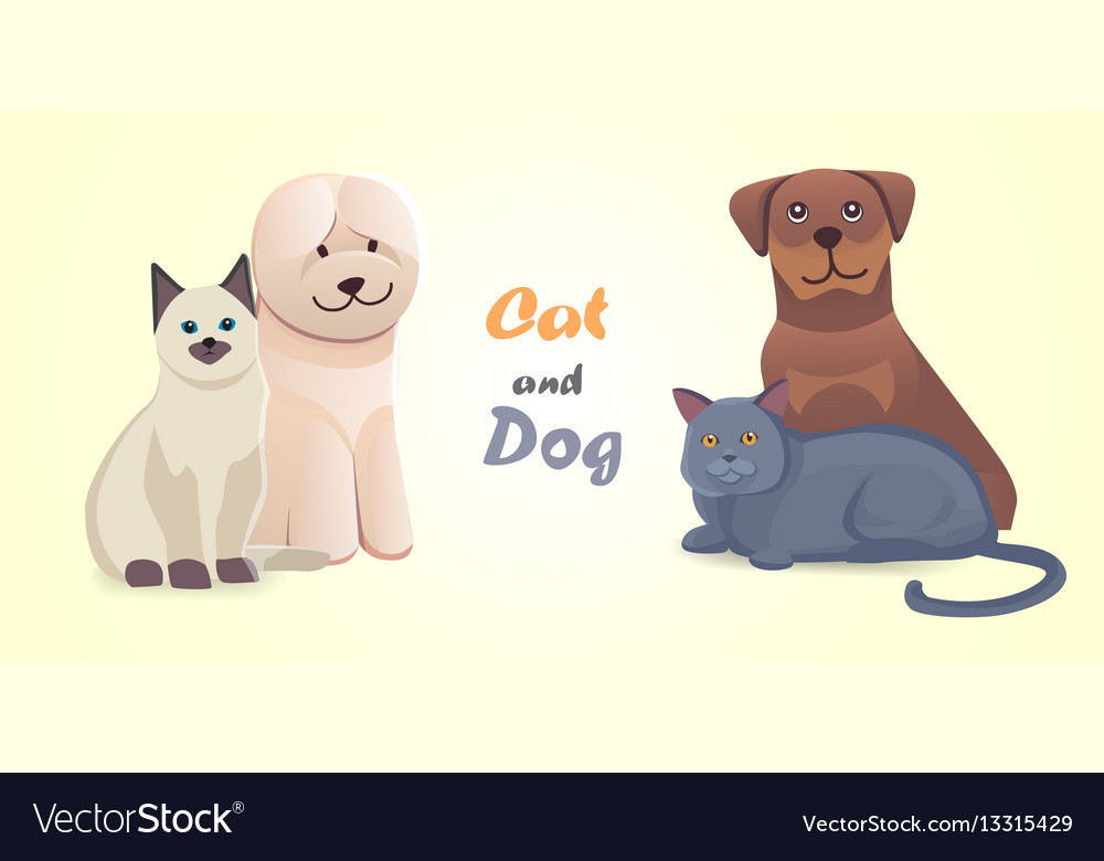 Set cat and dog together cartoon characters