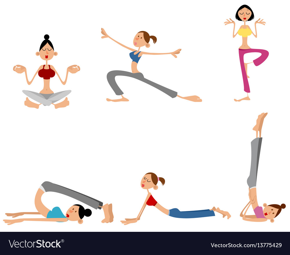 Six girls training vector image
