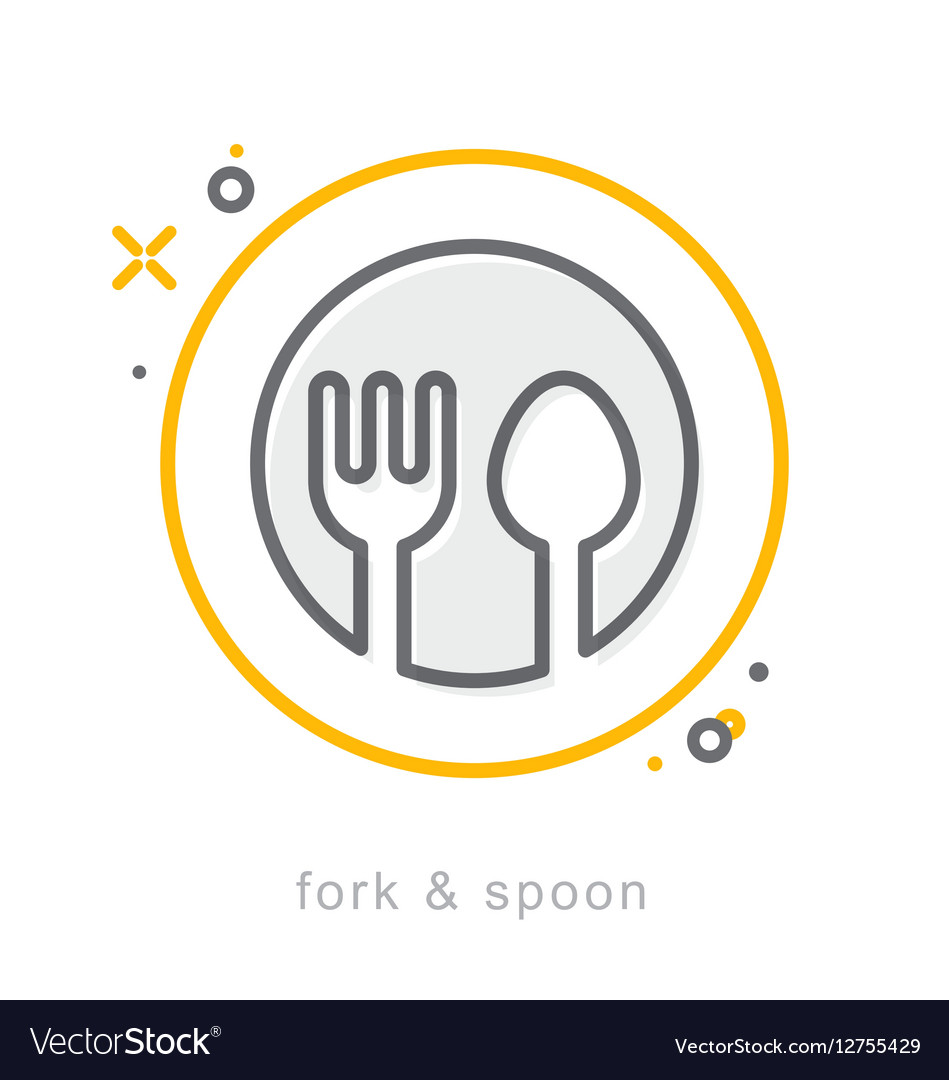 Thin line icons fork spoon