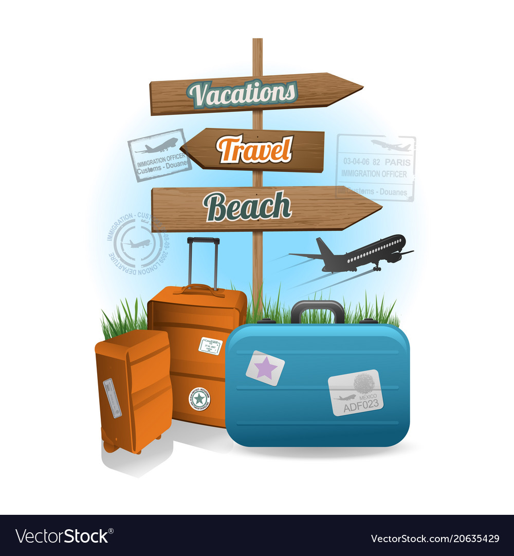 Travel wood sign background concept