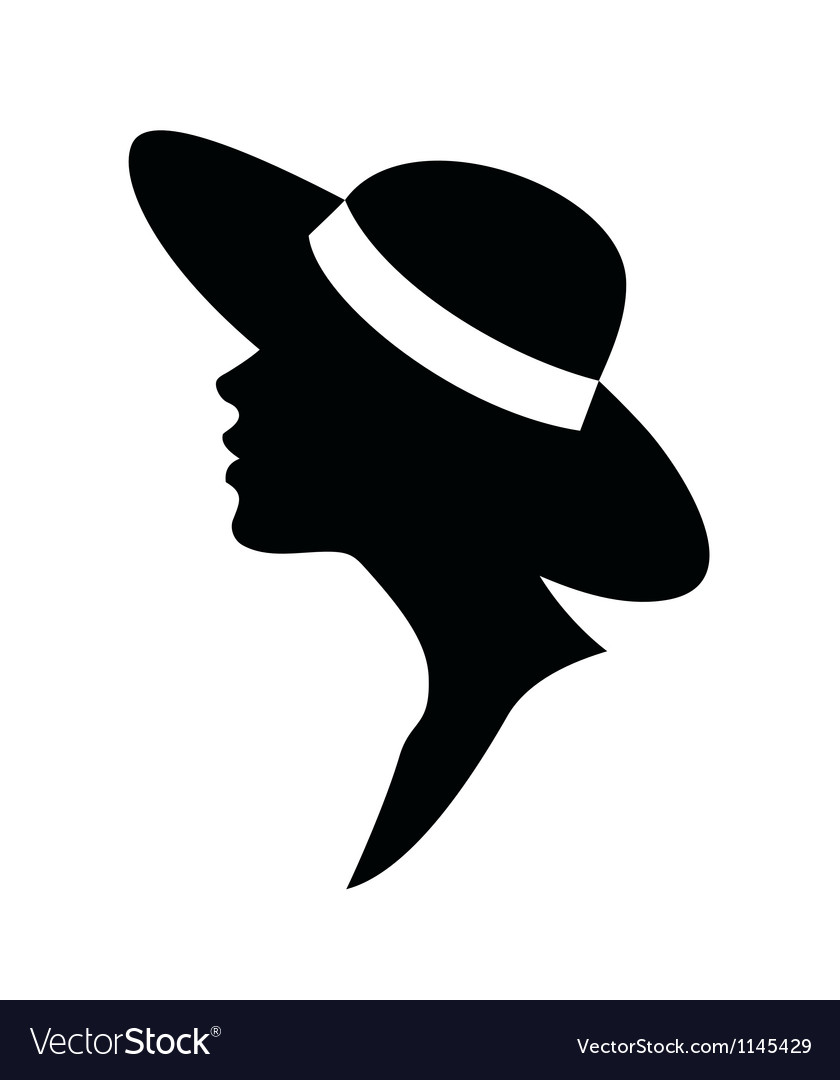 Young woman head silhouette in a hat