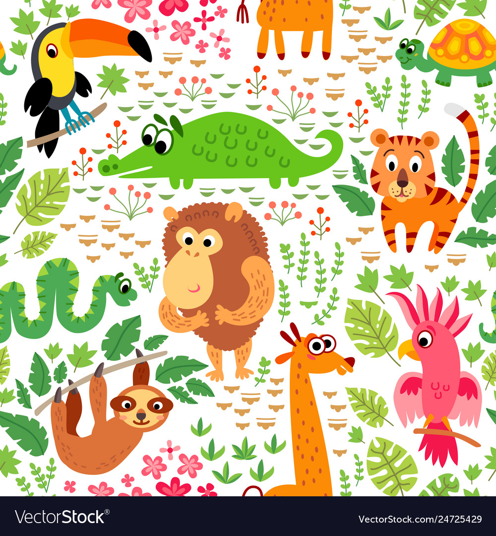 Zoo jungle pattern seamless tropical