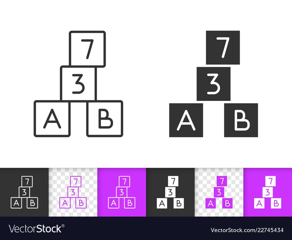 Alphabet cube simple black line icon