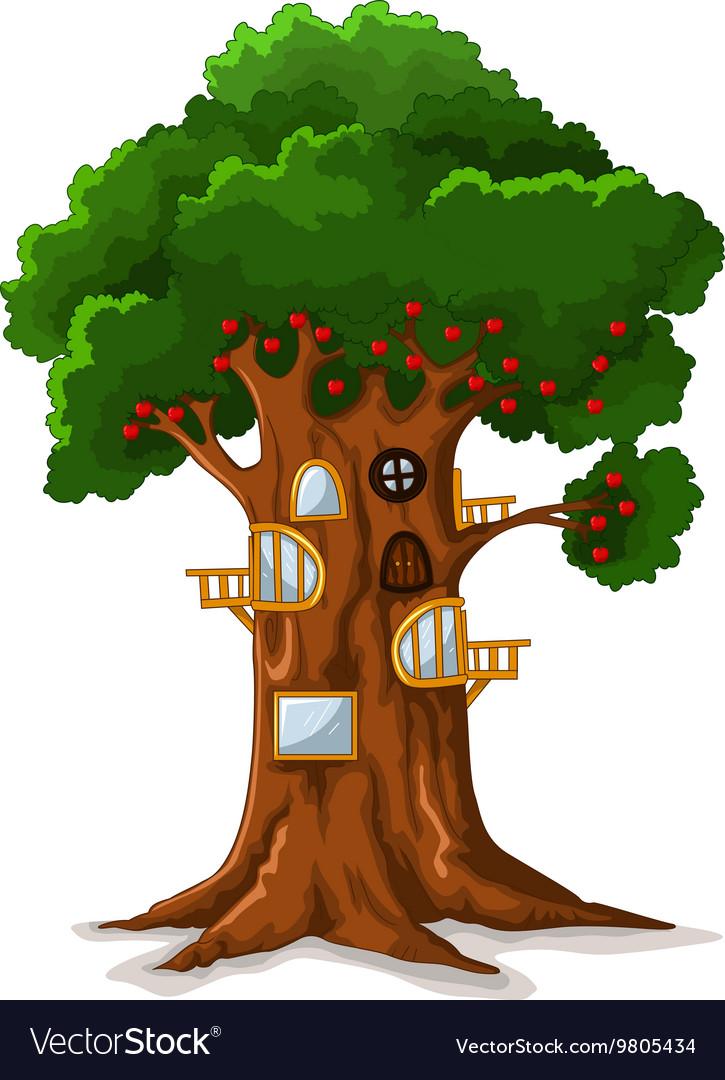 Apple Tree House Cartoon Royalty Free Vector Image Download tree cartoon house stock vectors. vectorstock