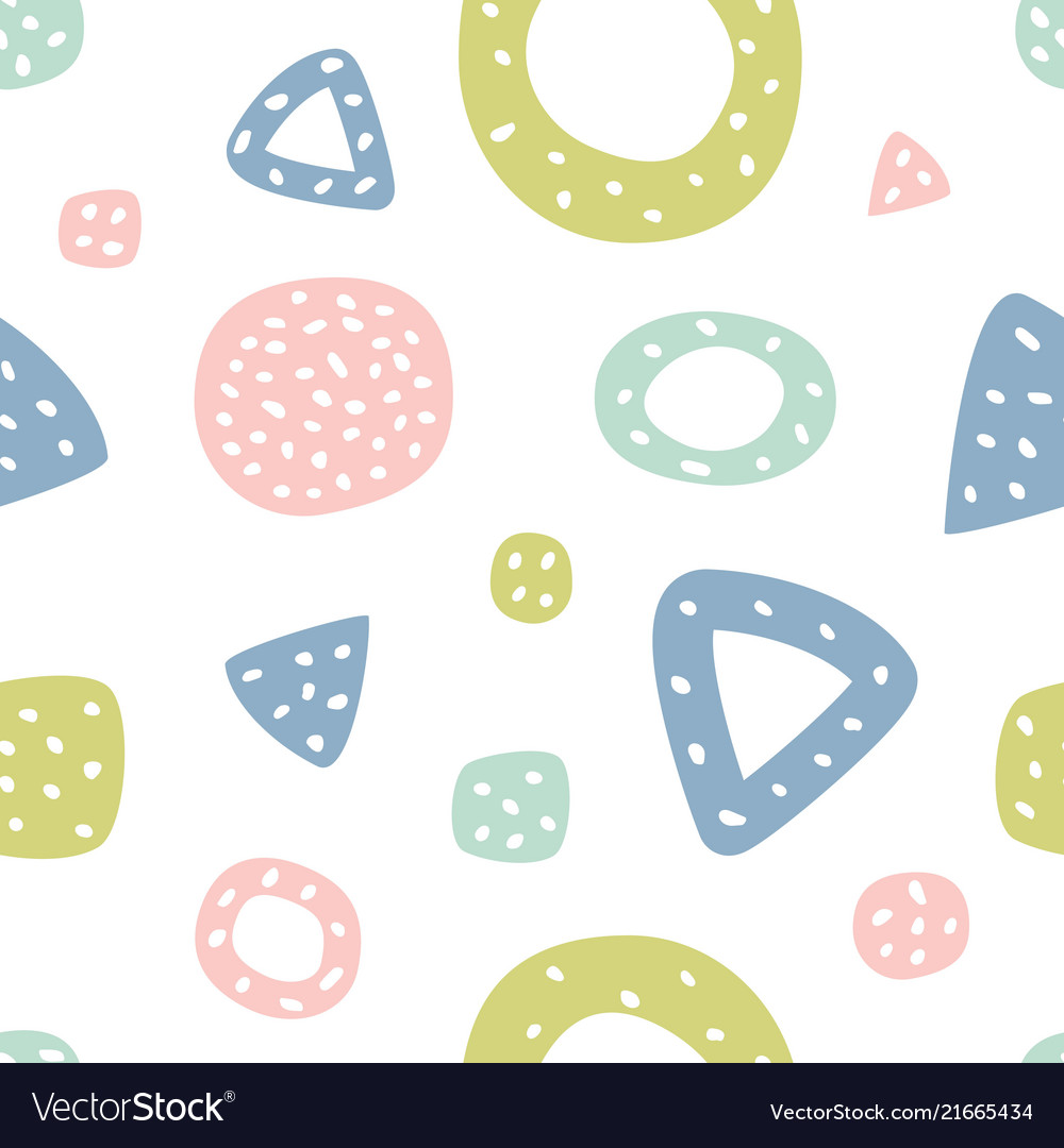 Childish seamless pattern with triangles and polka