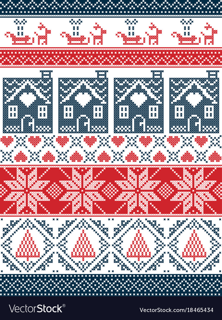 Christmas pattern with gingerbread house reindeer
