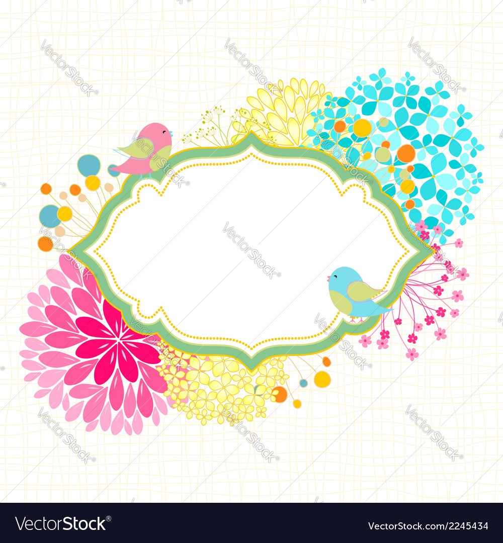 colorful flower bird garden party invitation vector image