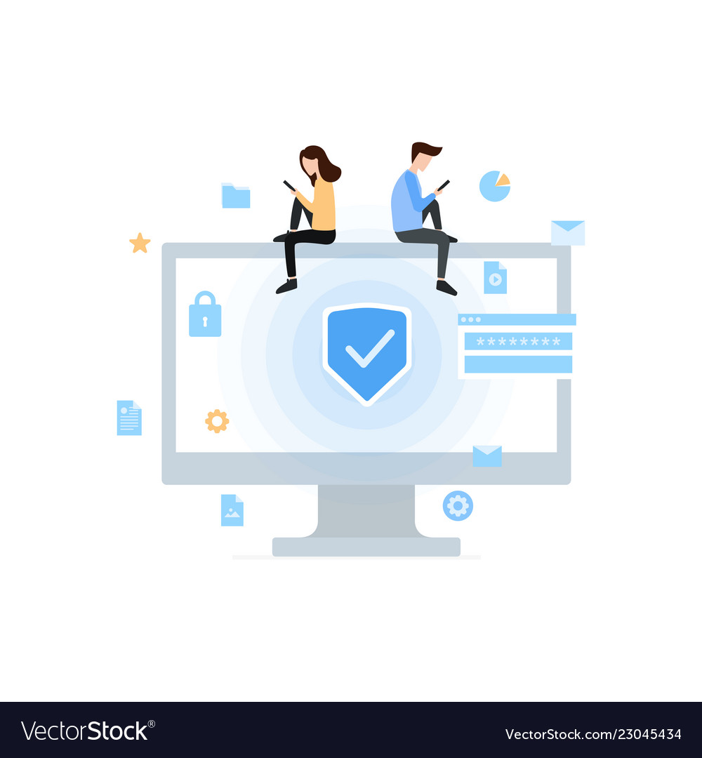 Data protection privacy and internet security flat