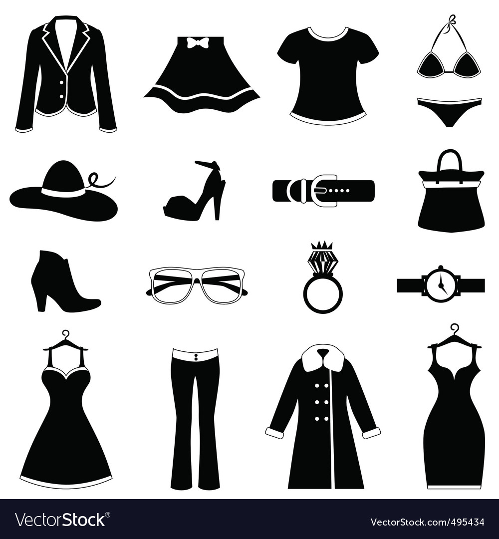 Fashion icon set vector image
