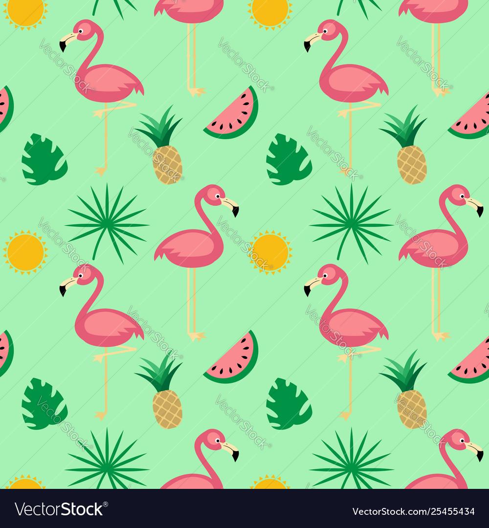Flamingotropical fruits seamless pattern