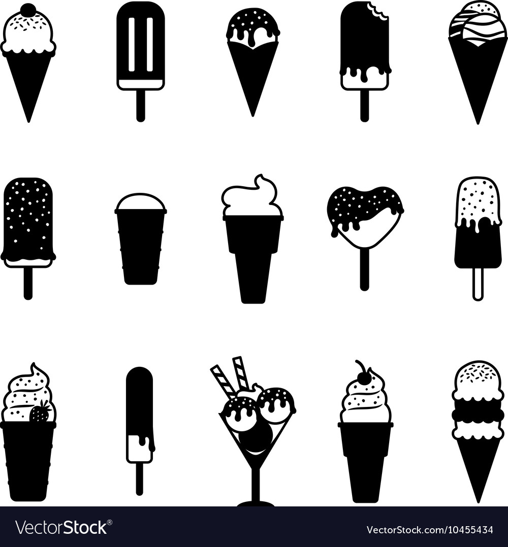ice cream black icons royalty free vector image vectorstock