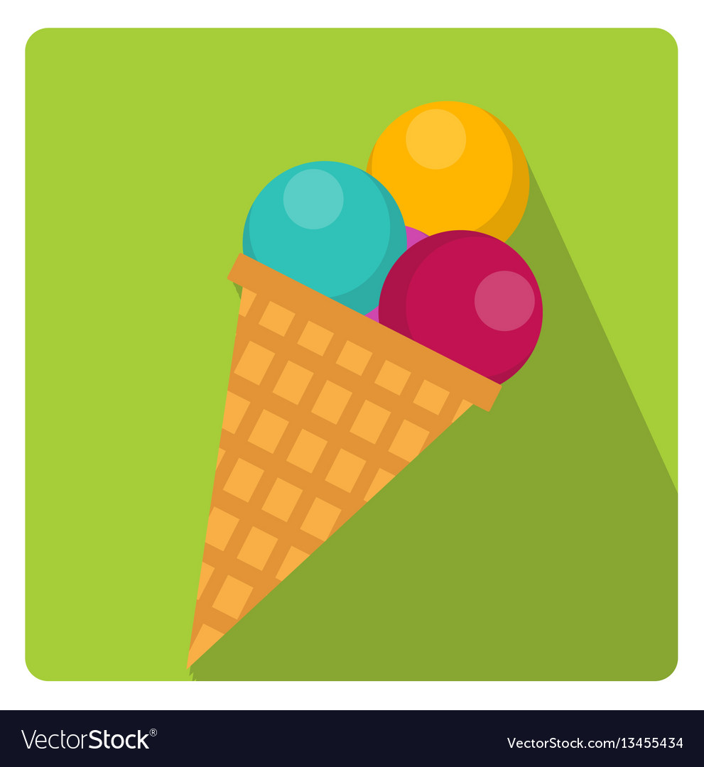 Ice cream cone icon flat style with long shadows