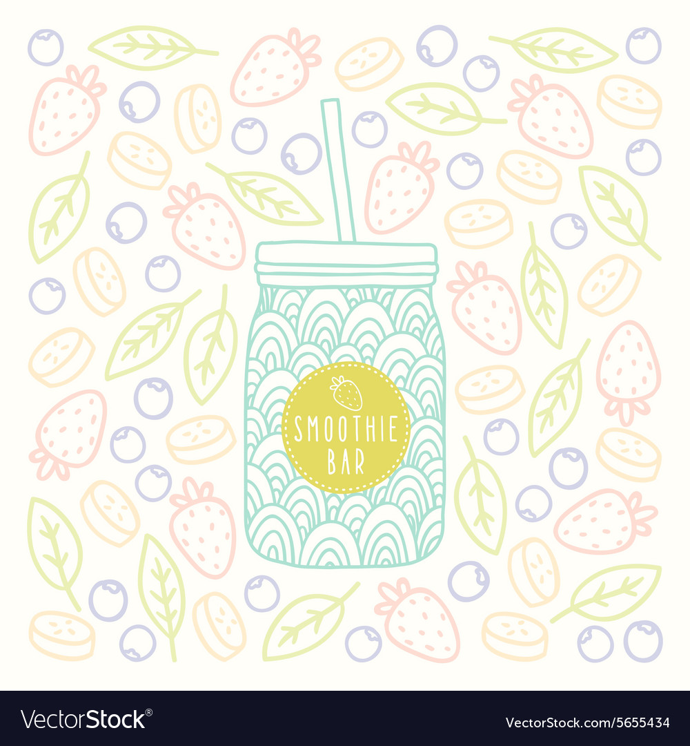 Mason jar with smoothie bar logotype on fruits and