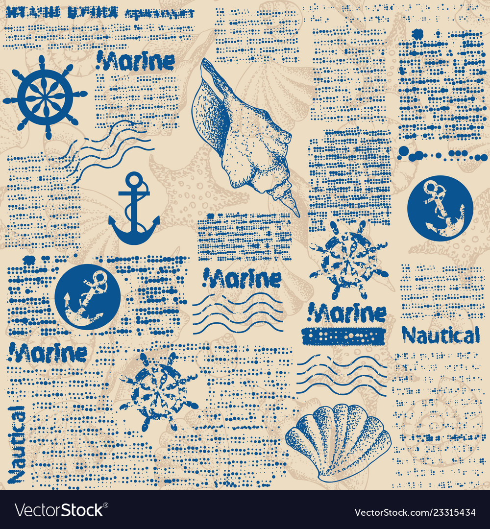 Newspaper pattern and hand draw in marine style