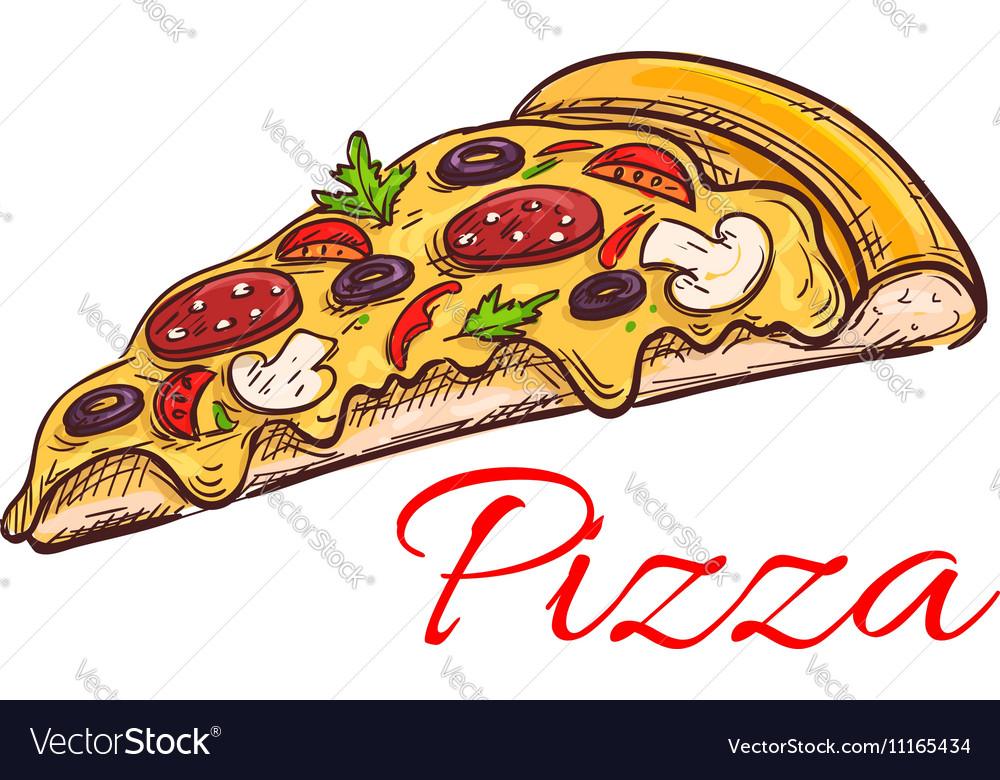 Pepperoni pizza thin slice isolated sketch
