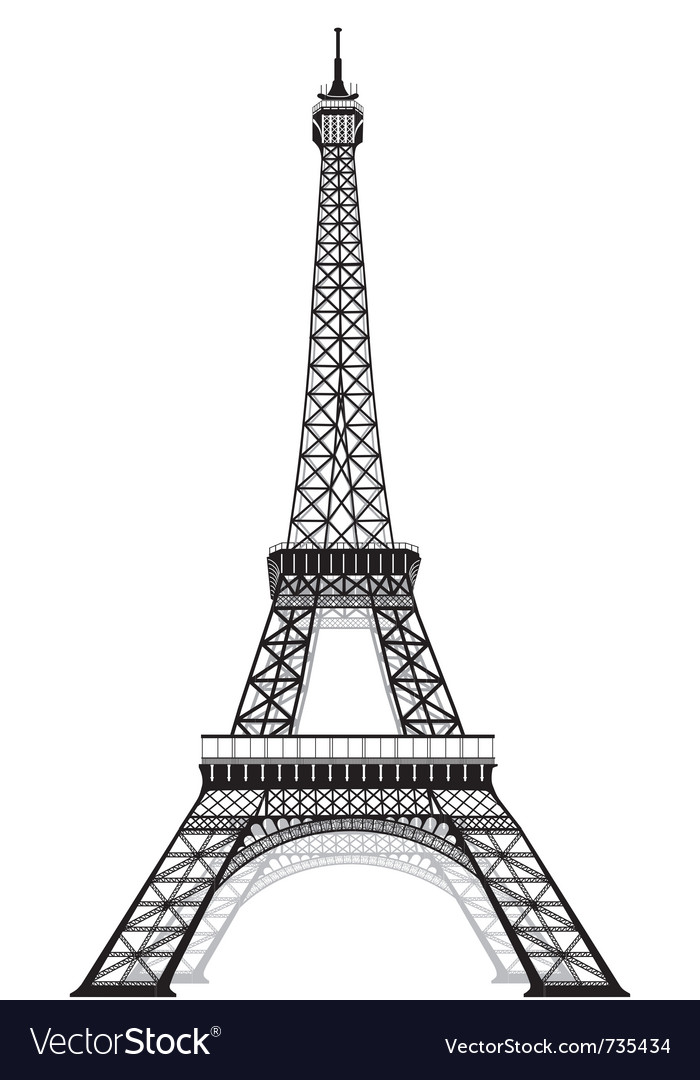 silhouette of eiffel tower royalty free vector image