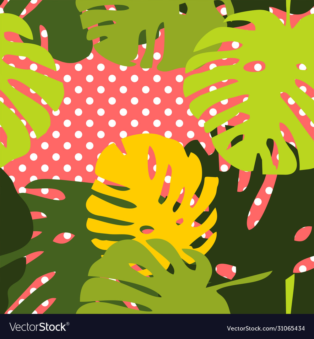 Tile tropical pattern with exotic leaves on dots