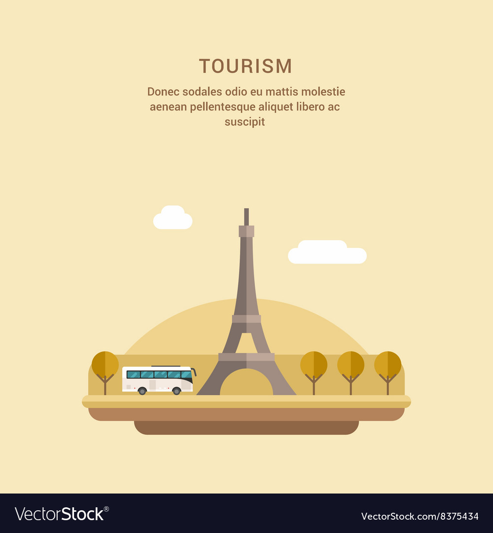 Tourism Concept Flat Style The Eiffel Tower on