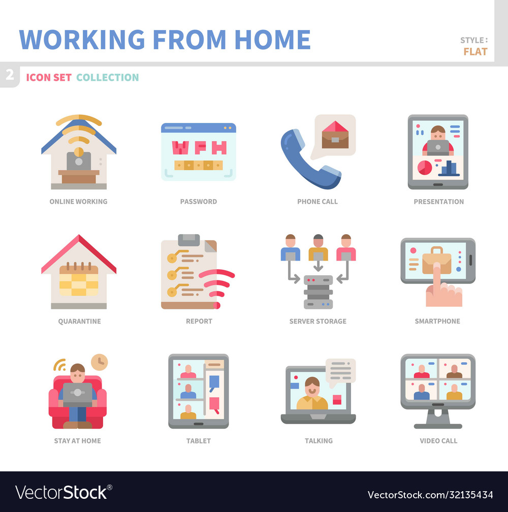 Work from home icon set