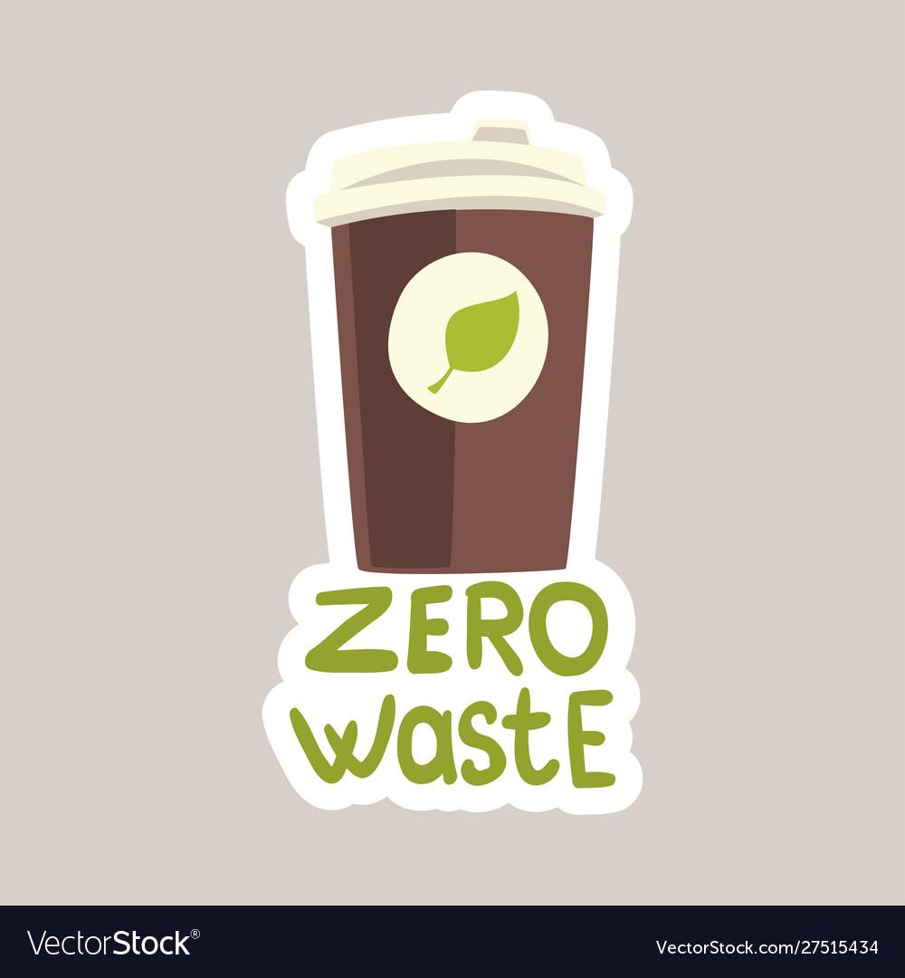 Zero waste tagline sticker cartoon