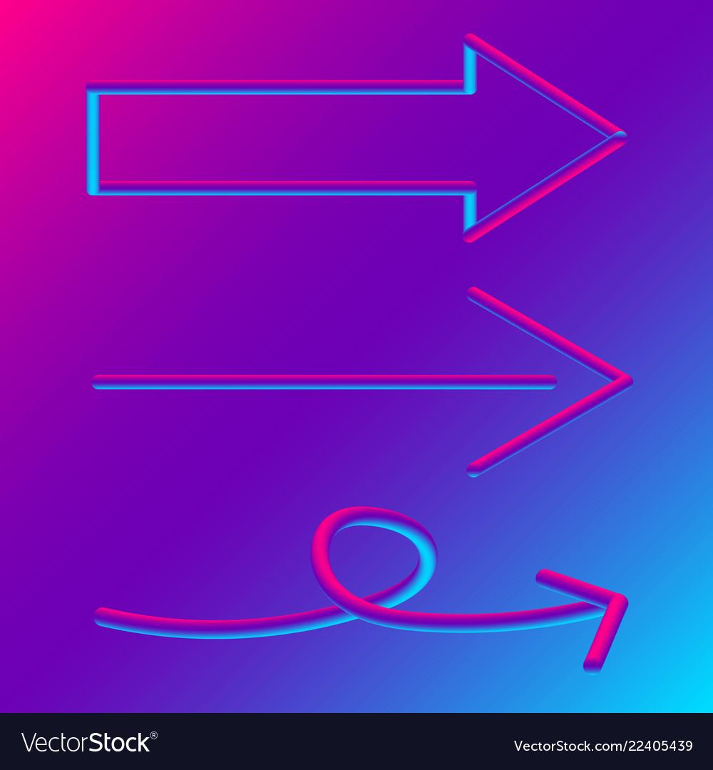 3d arrow signs set blue and purple gradient