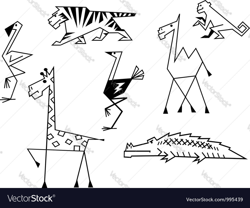 African savanna animals set vector image